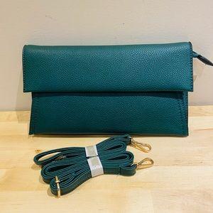 Dark emerald pebbled leather clutch